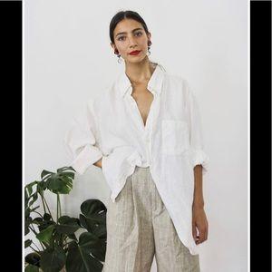 Rag and bone classic white linen oversized shirt